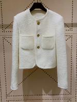 Casacos de pista de milão 2021 O pescoço manga comprida feminino casacos designer casacos marcas mesmas casacos de estilo 0303-35