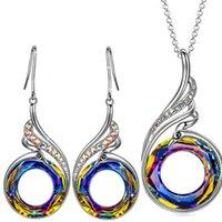 Moda Nirvana Pendientes Pendientes Collar Conjunto de joyas Arco iris Cristal Peacock Zircon Drop Pendiente Pulsera para Mujeres 2926 Q2