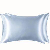 100% Poliéster Satin Funda de almohada Simple Estilo Simulado Color de Seda Casa de almohada Suave Brillante Extra Suave Confortable Ropa de cama Confortable VT1461