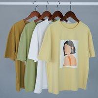 Toppies Mujeres Camisetas Personajes Impresión Tops Tees Harajuku Tops de verano Tops de manga corta 95% Ropa de algodón 210302