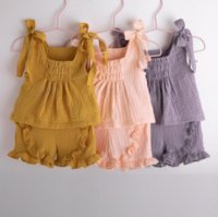 Baby Clothes Girls Sleeveless Sling Vest Tops +Shorts 2Pcs Set Ruffle Children Outfits Boutique Kids Clothing 3 Colors