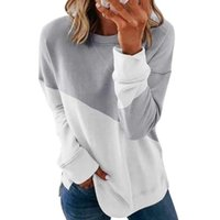 Women's Hoodies & Sweatshirts Women Stylish Color Matching Tops Spring Autumn Long-sleeved Round Neck Contrast Loose Pullover