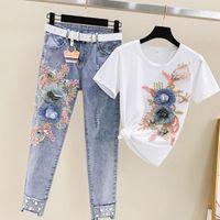 2021 새로운 여름 구슬 여성들이 무거운 작업 자수 3D 꽃 짧은 소매 티셔츠와 청바지 2pcs 의류 여성 정장 Y79 FVQ0