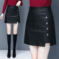 Skirts Leather Skirt Women's High Waist Autumn Winter A- Line PU Plus Size Woman Faldas Jupe