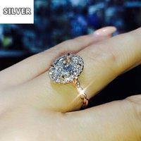 Anneaux de mariage pour femmes à pigeons haut de gamme en forme de zircone cubique gros-gamme Cristal ovale Crystal Couleur Fashion Anniversary Bijoux