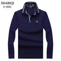 Polo Shabiqi Plus Size S-10XL Gentlemen Men Cato Manga larga Marcas Casual Hombres