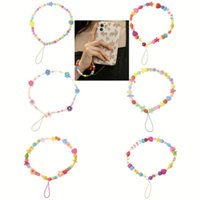 Party Favor 1PCS Mobile Phone Strap Lanyard Colorful Pearl Soft Pottery Rope For Cell Case Hanging Cord Women