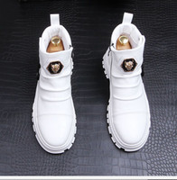 New Designer style thick sole high top board boots, Korean edition tide Martin casual short boot white cowboy zapatillas hombre