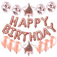 25 ADET Balonlar Toplam Mutlu Doğum Günü Harfleri Kalp Yıldız Konfeti ve Alüminyum Folyo Lateks Parti Balon Set Doğum Günü Partisi Malzemeleri 700 K2