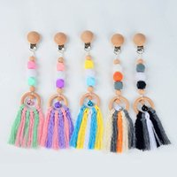 Baby Pacifier Holders Clips Weaning Natural Wooden Chew Accessory Tassel Pendant Accessories Silicone Teething Beads Infant Feeding Kids Toys B7044
