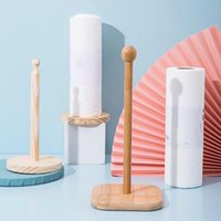 Napkin Rings 31cm Wooden Roll Paper Towel Holder Vertical Stand Napking Pack Home Bathroom Kitchen Toilet Storage Accessories