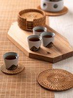 Mats & Pads HandmadeVine Woven Heat Proof Mat CoastersKitchen Dining Table Cushion Anti-Scald Pan Creative Placemat Non-Slip