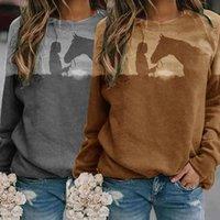 2021 new design printing o-neck slim Sweatshirt Long Sleeve T-shirt Women's casual Hoodie