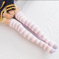Coral Fleece Striped Long Socks Women Long Overknee Stocks Warm Thigh High Socks zakolanowki chaussette haute femme