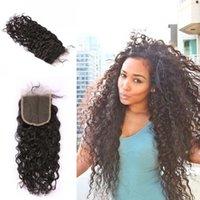 5x5 Chiusura del pizzo Wave Wave Virgin Brasiliano Hair Human Hair Free Tre Medio Parte Chiusura Dritto Corpo diritti Allentato Deep Curly Colore naturale 8-20 pollici