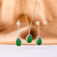 Earrings & Necklace 2021 Jennifer Colorful Jewelry Set 585 Rose Gold Women Romantic Fashion Natural Water Drop Copper