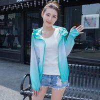 Damenjacken plus Größe mit Kapuze Sonnenschutz Kleidung Sommerkleidung Trendy Womens Koreanische Sonnencreme Frauenjacke UV Dünnmantel X300