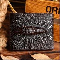 High Quality Genuine Leather Purse Crocodile Grain Male Clutch Money Bag Card Holder Pack Men Oil Wax Cowhide Long Short