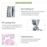 Toptan Hayvan S925 Kolye Fit Charm Boncuk Bilezik 925 Ayı Ayı Pembe Sevimli Footprint Paw Gümüş Pandora Avrupa Takı Wntek