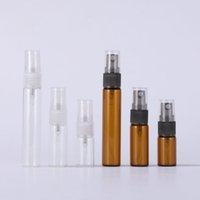 3ML 5ml 10 ml mini botella de perfume recargable con bomba de olor a pulverización vacío recipientes cosméticos claros de ámbar para viajes