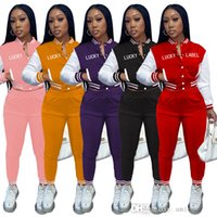 Women Tracksuits Letter Printed 2 Piece Outfits Baseball Suits Button Front Pocket Long Sleeve Jacket Bell Bottom Sweatpants
