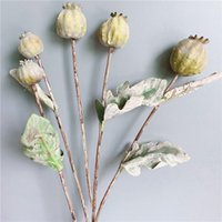 Decorative Flowers & Wreaths Dried-looking Poppy Fruit Branch With Dead Leaves Artificial For Home Garden Decor Fake Plants
