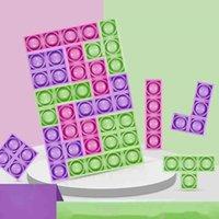 테트리스 푸시 팝 거품 포퍼 fidget 감각 똥 - 그 거품 jagsaw 장난감 지능 짜기 7 피스 퍼즐 장난감 어린이 초기 교육 퍼즐 보드 G62GP65