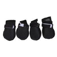 كلب الملابس 4 قطع. أحذية حماية السلامة الجوارب الحيوانات الأليفة الأحذية السوداء م