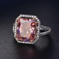 Cluster Rings CMajor Sterling Silver Synthetic Diamond Jewelry Elegant Temperament 14ct Cubic Zircon Pink Square Classic Ring For Women
