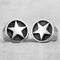 316L Edelstahl Lucky Pentagon Stars Männer Ringe Talisman Guter Glück Vintage Einfache Biker Für Männer Jungen Modeschmuck Geschenk