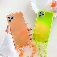 Neon Fluorescent Color Wrist Strap Phone Case For iphone 11Pro Max SE XR X XS Max 7 8 Plus Candy Color Wrist Bracelet Soft Cover