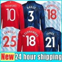 Mangas compridas 21 22 22 Varane Sancho Shaw Manchester Jerseys United Man Ronaldos Fernandes Martial Utd Rashford Camisa de Futebol 2021 2022 Homens Kit Camisas CR Thai