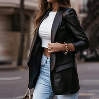 Women's Suits & Blazers Coat Casual Office Lady Loose Ladies Suit Solid Notched Long Sleeve Pockets Leather Jacket 2021 Autumn Winter