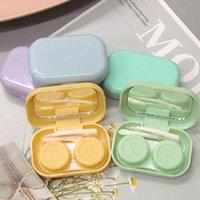 Cute Girl Contact Lens Case Box con Specchio Donne Mini Quadrato Cute Tweezers Eyes Contatto Lente Contenitore Contenitore Borsa Borsa Kit da viaggio