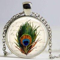 قلادة القلائد الطاووس ريشة الزجاج قلادة مجوهرات سلاسل المفاتيح الأحجار الكريمة حقيبة هدية عيد للنساء
