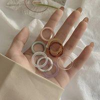 8 colores minimalista vintage colorido resina anillo conjunto de color marfil anillos acrílicos para mujeres niña coreano simple joyería regalos