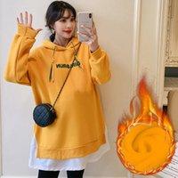 Ropa de maternidad Invierno Nuevo estilo coreano Moda de mediana longitud Moda más terciopelo grueso casual algodón suéter falda embarazo Outwear