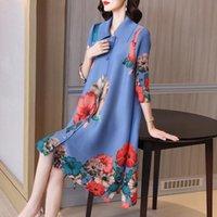 Casual Dresses Fashion Pleated Dress Mom Autumn 2021 Women's Retro Print Large Shirt