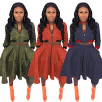 Two Piece Dress Plus size Two piece set clothes Zipper Long Sleeve Pleated Skirts Suits Tops + Skirts Casual 2 piece sets womens club