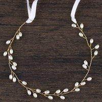 Vintage Crystal Pearl Bridal Headband with Ribbon Tiara Bride Headpiece Hairs Jewelry Women Wedding Hair Accessories