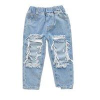 Kızlar Kot Çocuk Kot Moda Delik Gevşek Erkek Pantolon Rahat Denim Püsküller Bebek Pantolon Çocuk Giyim Çocuk Giyim 1-6Y B3858