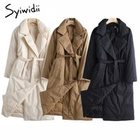 Women's jacket cotton Syiwidii Woman Long Parka Catoon Casual Warm Fall 2021 Loose clothes For Women Jas Single Breasted Winter Jackets With Belt 0908