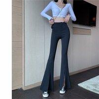 Quarter Women's Elastic Waist Solid Flare Pants Stretchy Bell Bottom Black Split Suit Trousers Arrival Clothing 210922