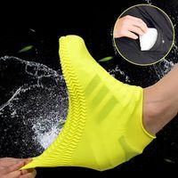 Zapatos de silicona impermeables reutilizables Cubierta Unisex Botas a prueba de lluvias antideslizantes Overshoes grueso resistente al desgaste portátil de lluvia al aire libre útil YL0202