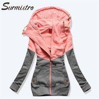 Surmiitro Frühling Frauenjacke Herbst Winter übergroß Kapuzen-Sweatshirt Reißverschluss Hoodies Plus Size Mantel Weibliche Sweat Femme 201102