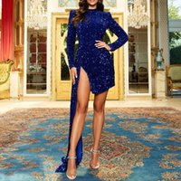Cocktail Dresses, Long Sleeve Short Mini Petite Corset Formal Prom Homecoming Gowns with Side Split Skirt