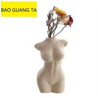 Bao Guang Ta Body Girl 흉상 예술 디자인 꽃병 그림 꽃병 크리 에이 티브 취미 심기 기계 홈 장식 R5197