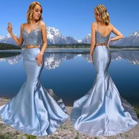 2022 Mermaid Two Pieces Sexy Evening Dresses Spaghetti Straps V Neck Lace Prom Dress Sweep Train Taffeta Backless Formal Gowns