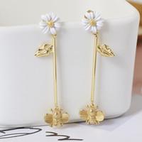 18K ouro e prata banhado jóias premium qualidade margaridas e abelhas brincos moda europeia pequeno presente de aniversário fresco