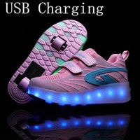 Sneakers Pink USB Charging Fashion Girls Boys LED Light Roller Skate Shoes For Children Kids With Wheels Two